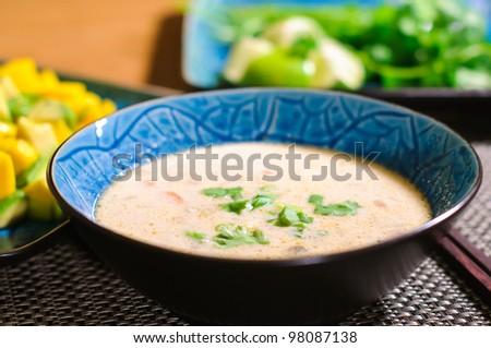 Tom Kha Gai / Thai Chicken Coconut Soup - stock photo