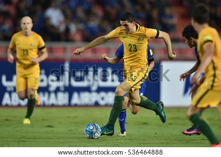Tom Rogic no.23 of Australia in action during the 2018 World Cup Qualifiers match between Thailand and Australia at Rajamangala Stadium on September 15, 2016 in Bangkok, Thailand