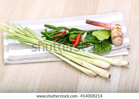 Tom yam herbs and spices set  - stock photo