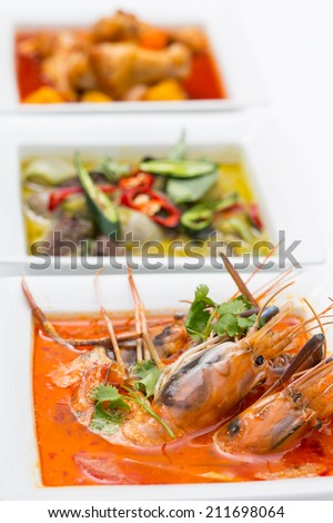 Tom yam kung ,Asian favorite food with black background