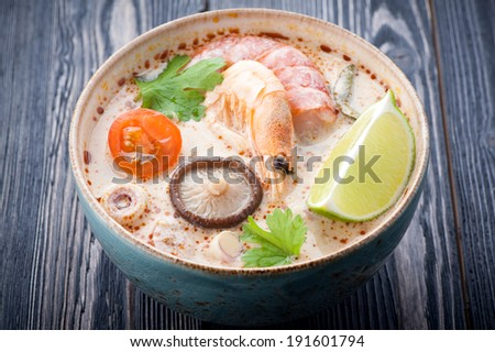 Tom Yam soup. Thai spicy soup.  - stock photo