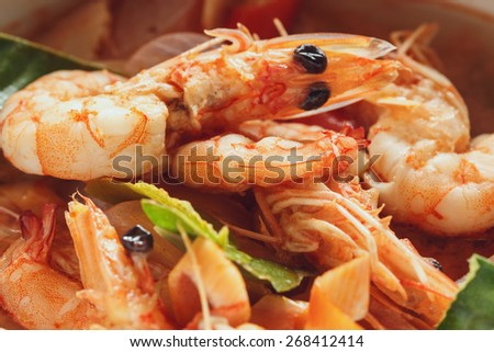 Tom Yum Fresh shrimps, Thailand food  with spicy popular - stock photo