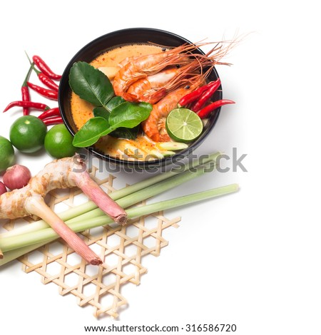 Tom Yum Goong thai food traditional  cuisine with ingredient on white isolated background - stock photo