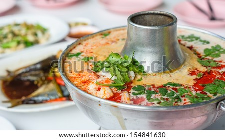 Spicy Thai Soup Tom Yum Seafood Soup or Spicy