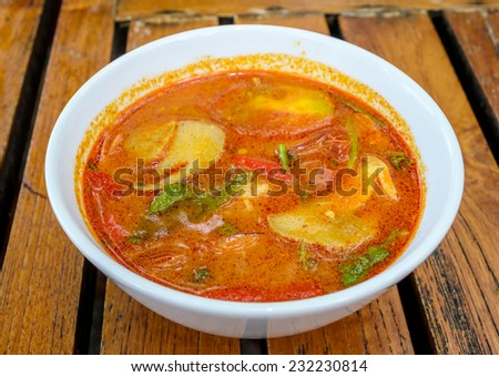 Tom Yum soup, a Thai traditional shrimp Soup - stock photo