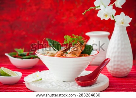 Tom Yum soup- Traditional Thai spicy soup with shrimp - stock photo
