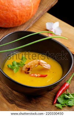 Tom Yum,Thai hot and spicy soup seafood with shrimp and pumpkin - stock photo