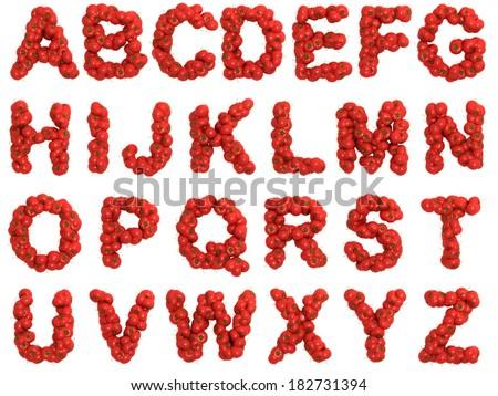 Tomato alphabet on white background - stock photo