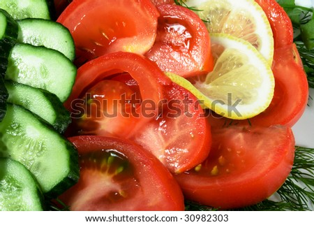 tomato and cucumber cut on segments