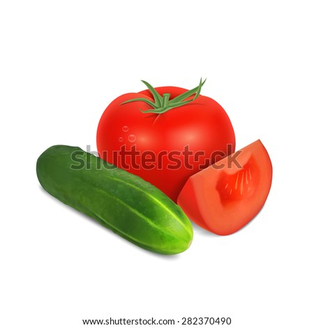 Tomato and cucumber isolated on white - stock photo