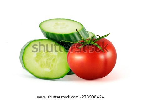 Tomato and cucumber isolated on white backgraund