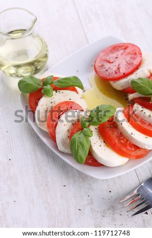 Tomato and mozzarella with basil leaves on a white plate