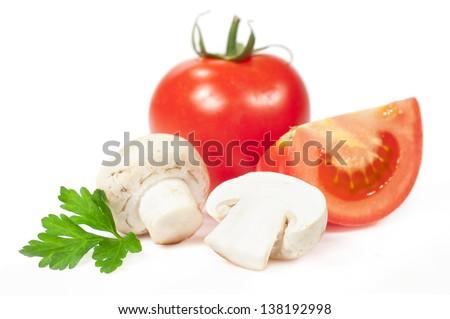 tomato and mushroom isolated on white  - stock photo