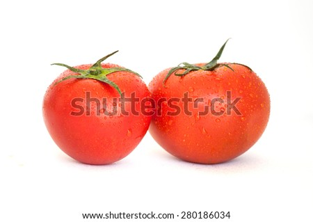 tomato and olives isolated in white