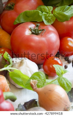 tomato and vegetables cucumber, carrots, potatoes, peppers, onions, basil, pepper on white tablecloth closeup - stock photo