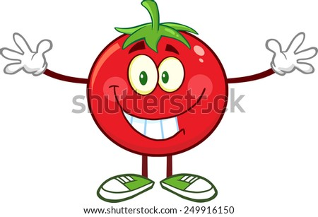 Tomato Cartoon Mascot Character With Open Arms For A Hug. Raster Illustration Isolated On White - stock photo
