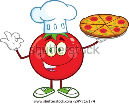 Tomato Chef Cartoon Mascot Character Holding A Pizza. Raster Illustration Isolated On White - stock photo