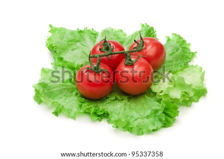 Tomato, cucumber and cayenne pepper isolated on the white background