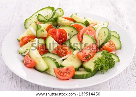 tomato,cucumber and onion salad - stock photo