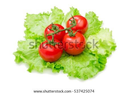 Tomato, cucumber vegetable and lettuce salad isolated on white