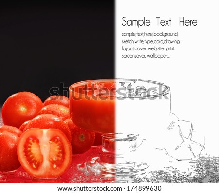 tomato drawing card - stock photo