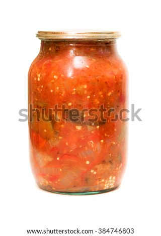tomato eggplant marinated in a jar of glass