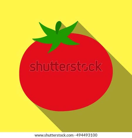 Tomato icon flat. Singe vegetables icon from the eco food flat. - stock rastr