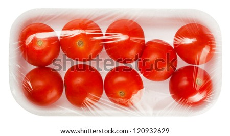 Tomato In Vacuum Packing Isolated On White Background
