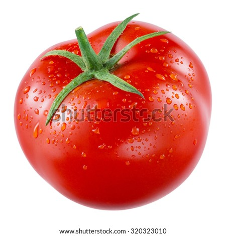 Tomato isolated on white. With clipping path. - stock photo