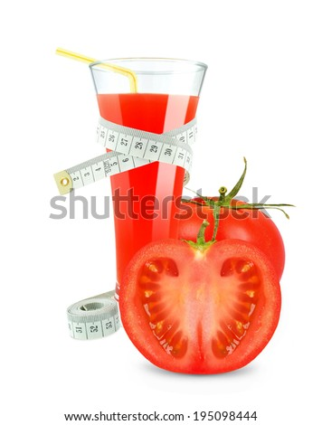 tomato juice and meter on white background