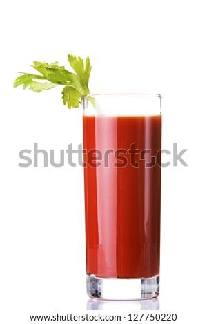 Tomato juice, bloody mary isolated on white - stock photo