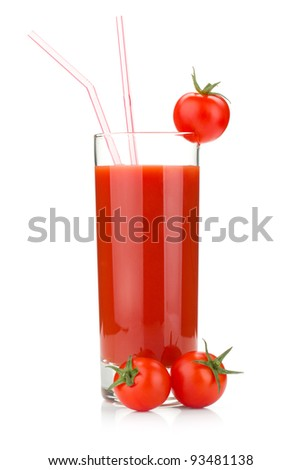 Tomato juice in a glass and two cherry tomatoes. Isolated on white background