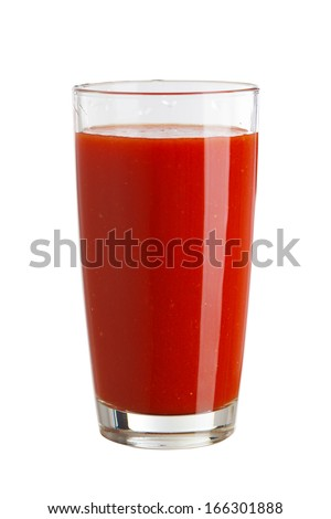 Tomato juice in a glass isolated on white background - stock photo