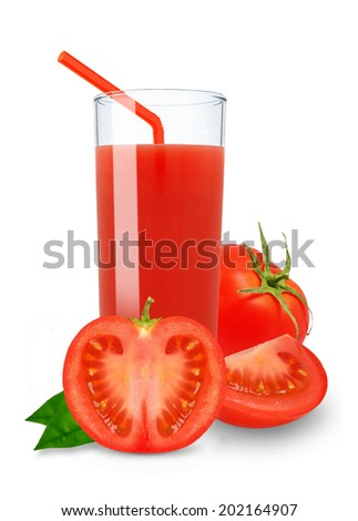 tomato juice in a glass on a white background