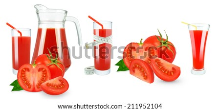 Tomato juice in a jug and a glass and meter on white background