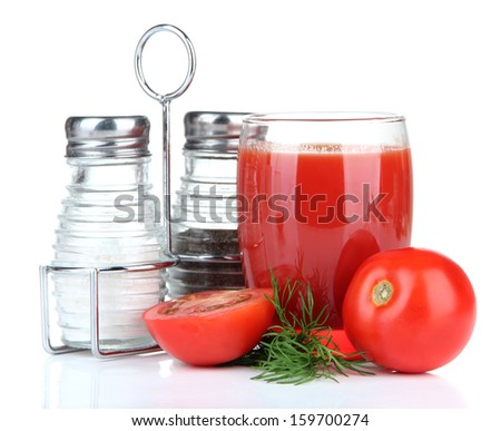 Tomato juice in glass, isolated on white