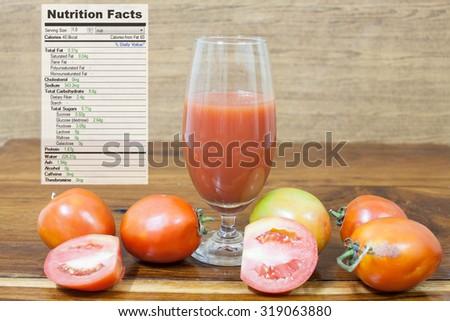 tomato juice nutrition facts - stock photo