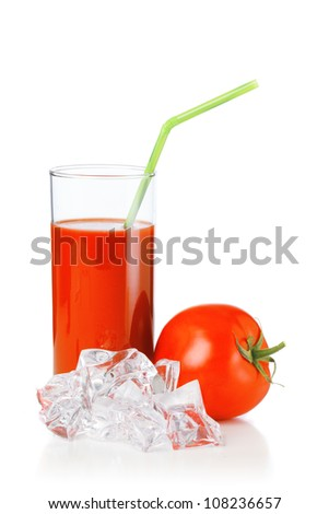 Tomato juices in glass with a straw and Ice cubes
