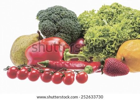 Tomato, Lettuce, Broccoli, Paprika, Red Chili Pepper, Pear, Lemon and Strawberry - stock photo