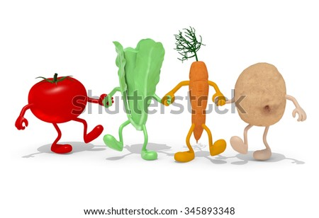 tomato, lettuce, carrot and potato hand in hand, 3d illustration