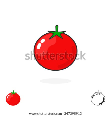 Tomato logo single isolated on white background. Simple tomatoe icon flat style, fresh food, production, cartoon sign, label, trend, brand, modern design identity, outline logotype illustration image