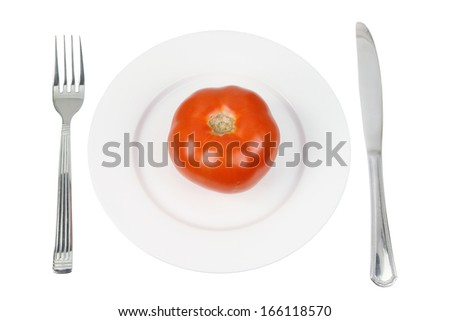 Tomato on Plate with White Background