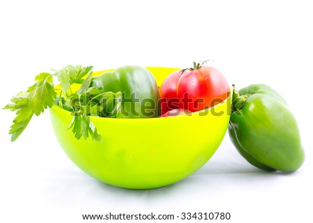 Tomato, pepper, cucumber and parsley vegetables mix