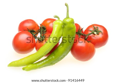 Tomato peppers on white background