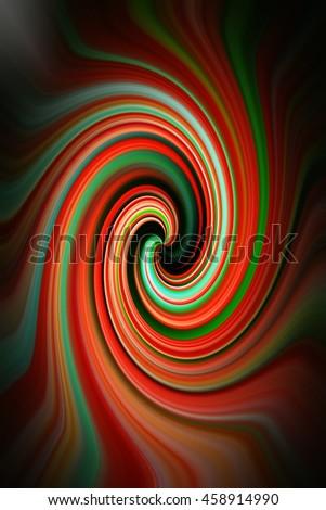 Tomato red vivid green black edges twirl spin twist vivid kaleidoscope of colorful design pattern background backdrop - stock photo