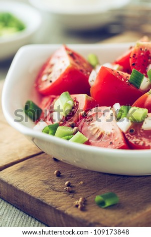 Tomato salad with spring onion and coriander seeds - stock photo