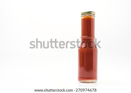 Tomato sauce bottle isolated on white background - stock photo