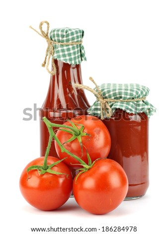 Tomato sauce, ketchup in glass jar on a white background  - stock photo