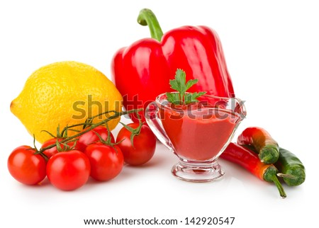 tomato sauce with parsley leaf and vegetables, isolated on white