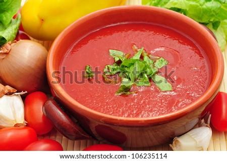 Tomato soup closeup - stock photo